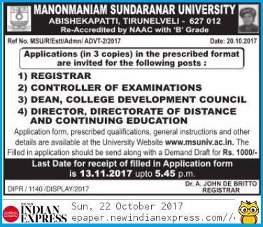 MS University Tirunelveli Registrar, COE, Dean, Director Recruitment Notification 22.10.2017