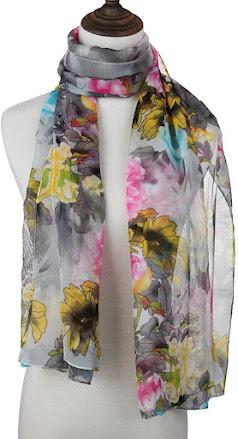 Flower Print Chiffon Scarves