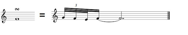 Starting on the upper note, then a rapid triplet descending down through the main note to the lower note and returning to the main note.