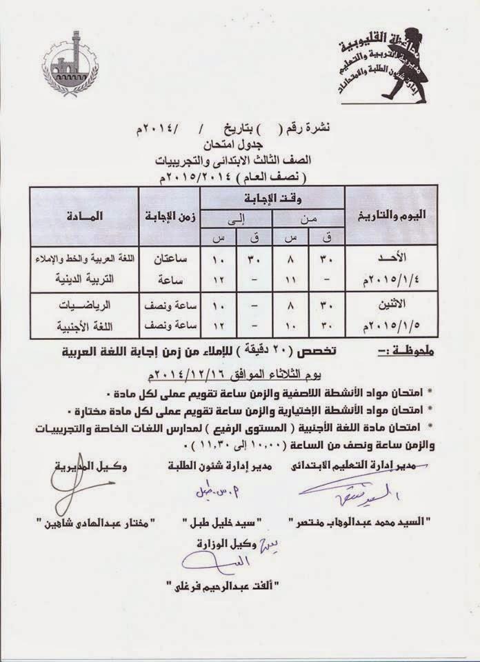 جداول امتحانات فرق ابتدائى الترم الأول 2015 لمحافظة القليوبية 10432134_65550158790