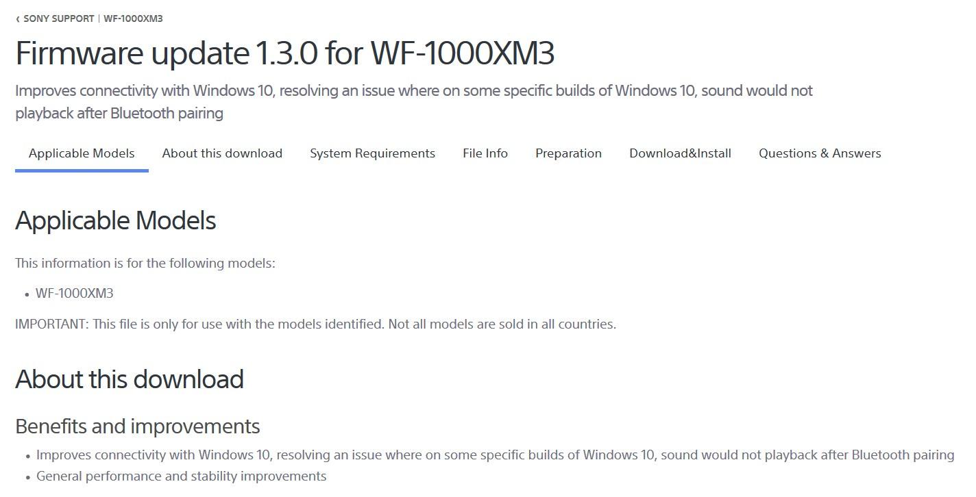 sony tv software update download