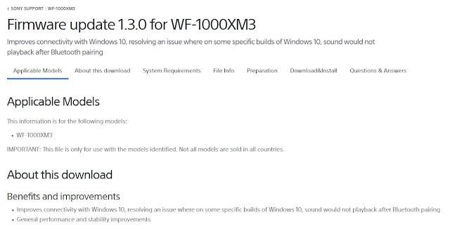 Sony WF-1000XM3 Firmware upgrade