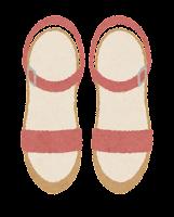 上から見た靴のイラスト(女性用サンダル)