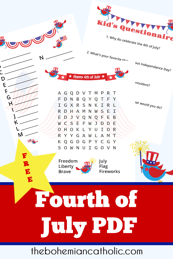 bohemian catholic pinterest 4th of July pdf bundle free