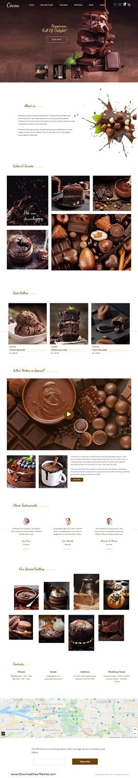 Best Chocolates Store Website Theme
