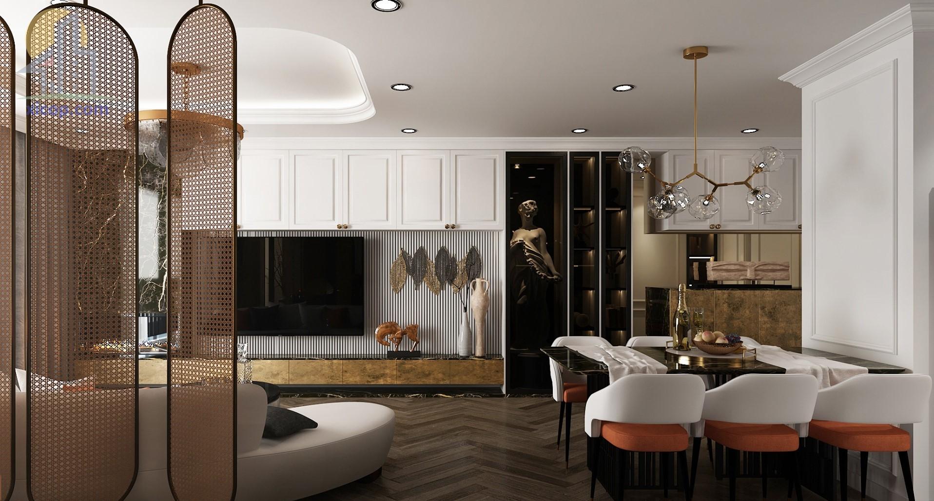 Thiết kế nội thất chung cư đẹp hiện đại, phòng khách, phòng ngủ số 1