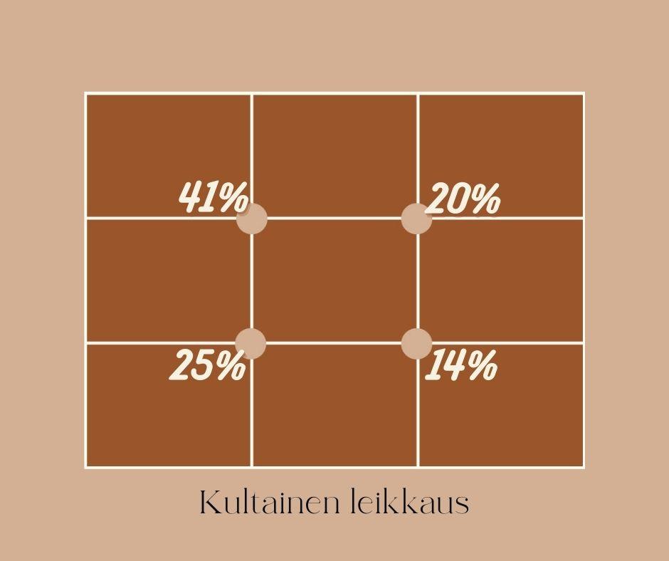 Piirretty kultaisen leikkauksen kehikko sekä risteyskohtien viereen prosentit joiden avulla tiedät mikä piste kiinnittää katseen ensin.