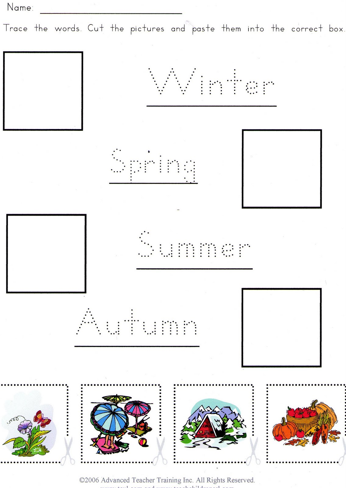 Seasons Learning Worksheet For Kindergarten