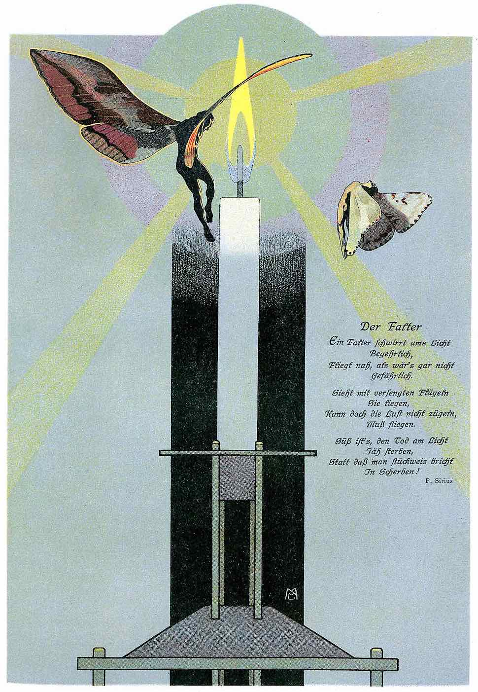 a Mila Von Luttich illustration 1910, flying too close to the flame