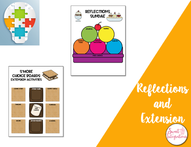 Reflections with choice board templates