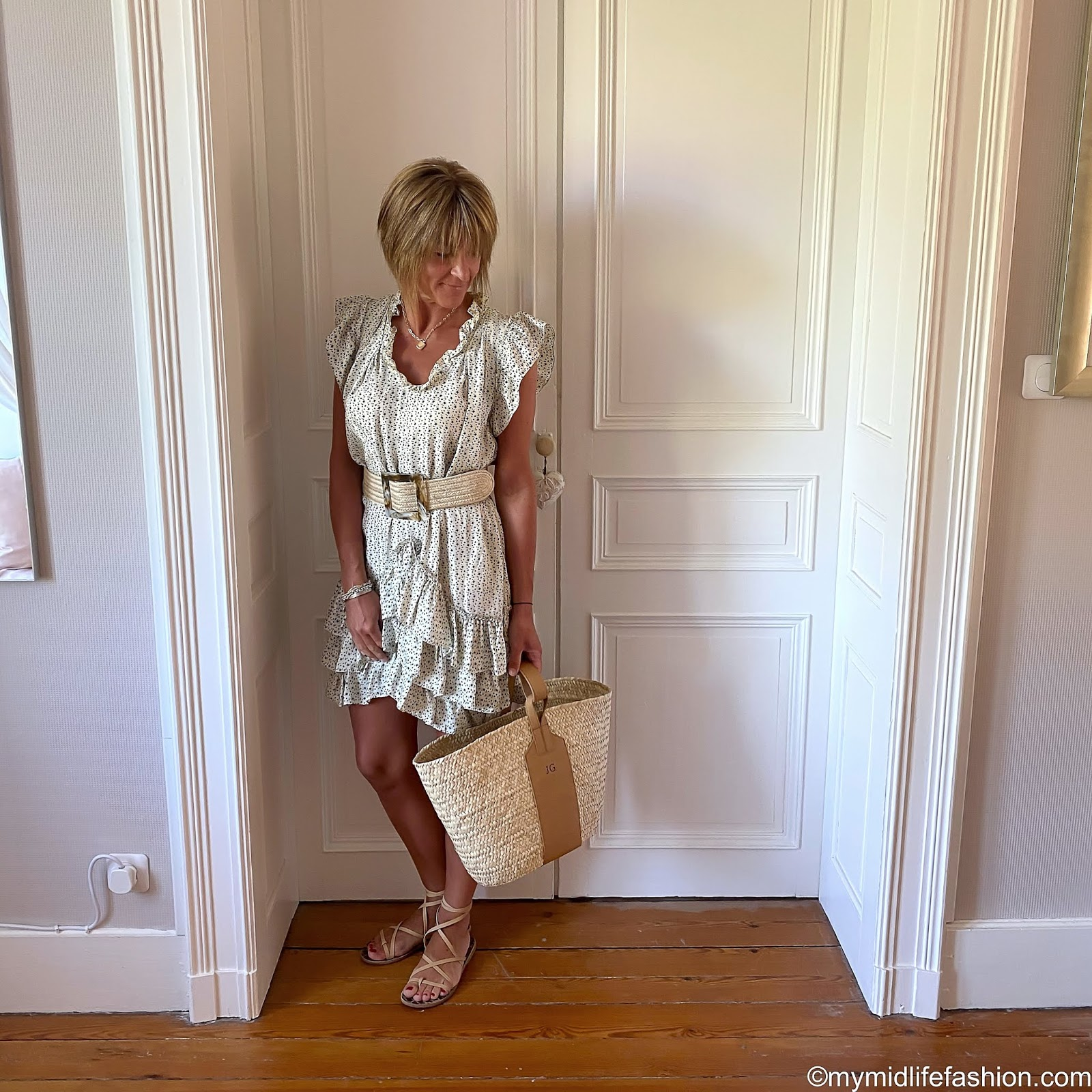 my midlife fashion, Isabel Marant silk star print ruffle dress, rae feather monogram grace basket, Ancient Greek sandals