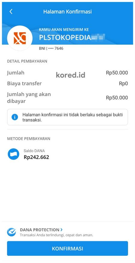 konfirmasi bayar tokopedia dengan dana
