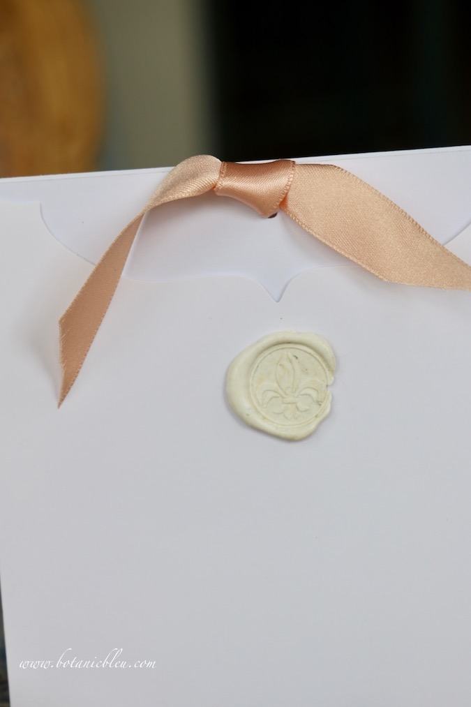 """Use ¾"""" peach satin ribbon with green printed Handmade Easter Cards"""