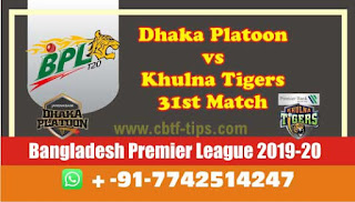 Who will win Today BPL T20, 31st Match Khulna vs Dhaka - Cricfrog
