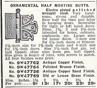 black and white rendering of Sears hinge from the building supplies catalog, 1915