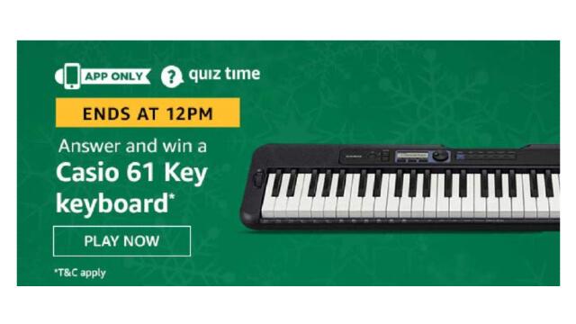 Amazon Quiz Answers Today 24 January win - Casio 61 Key Keyboard