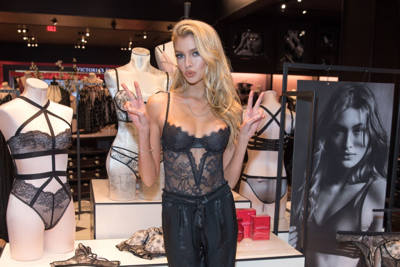 Stella Maxwell brings the va va voom as she debuts new Victoria's Secret fall collection in sheer lace bustier