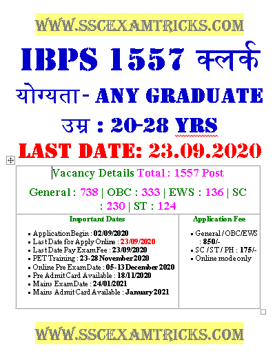 IBPS 1557 Clerk Recruitment