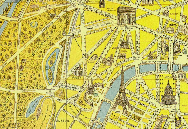 old Paris map from 1900