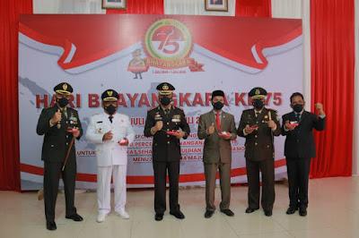 Dandim 0101/Aceh Besar Hadiri Upacara Peringatan Hari Bhayangkara ke 75 di Mapolreta Banda Aceh