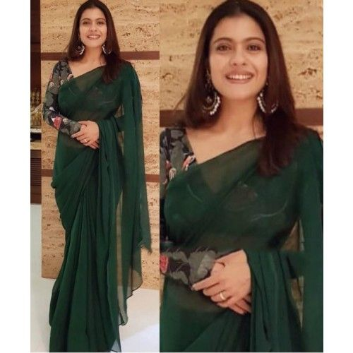 Emerald Green French Chiffon saree with Swarovski