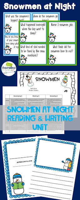 reading and writing activities for Snowmen at Night