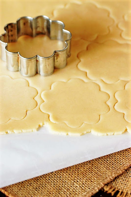 Rolled Out Butter Cookie Dough to Make Raspberry Jam Sandwich Cookies Image