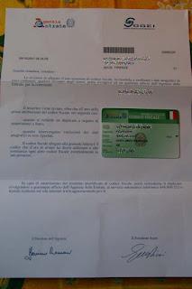 When original codice fiscale card arrived