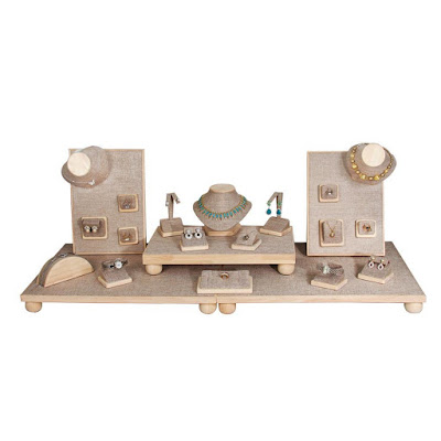 Shop Nile Corp Wholesale Burlap and Natural Wood Jewelry Display Set