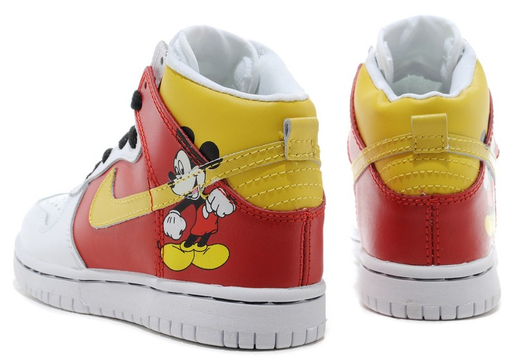 new styles 641c0 dae84 Mickey Mouse Nike Dunks Nike Dunk High Disney Mickey Mouse For Men Kids  304292-007
