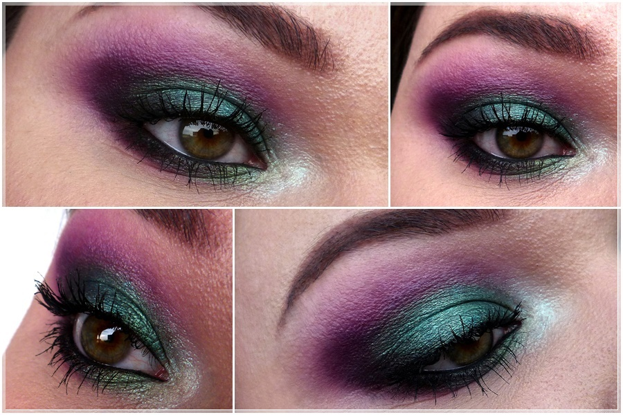 purple green smokey eye make up