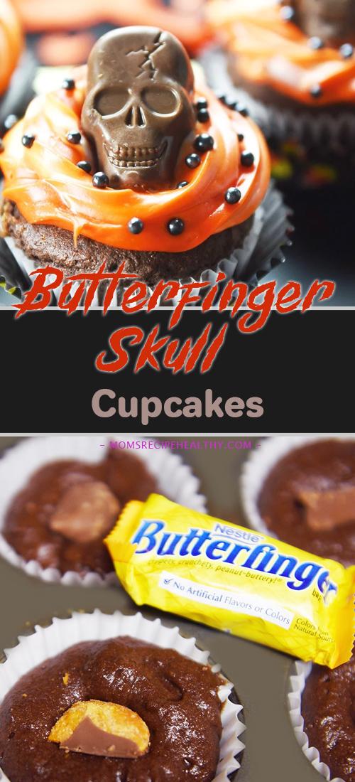 Butterfinger Skull Cupcakes