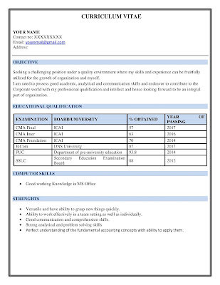 Cost Accountant Resume 1
