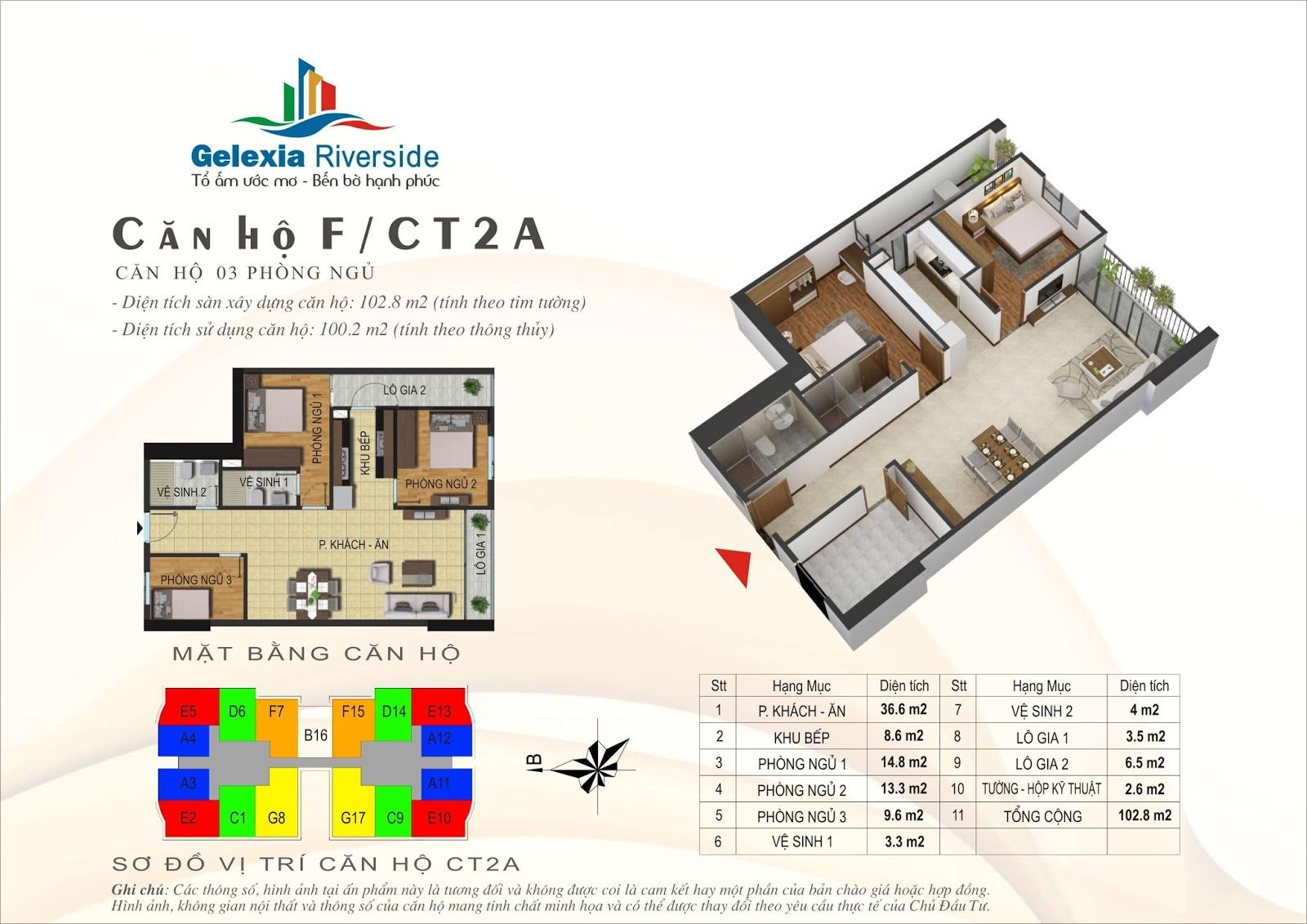 Mặt bằng căn hộ 102,8 m2 tòa CT2A - Gelexia Riverside