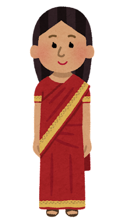 サリーを着た女性のイラスト(民族衣装)