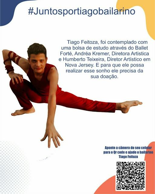 #JuntosporTiagobailarino campanha para jovem de Panelas (PE) selecionado para estudar Balé nos Estados Unidos