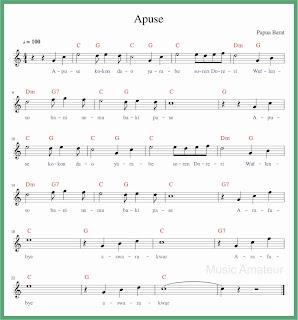 partitur not balok lagu apuse lagu daerah papua
