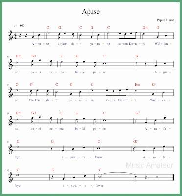 partitur not balok lagu apuse
