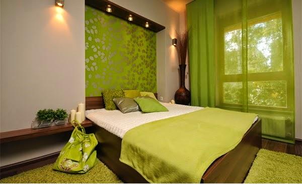 dormitorio marrón verde