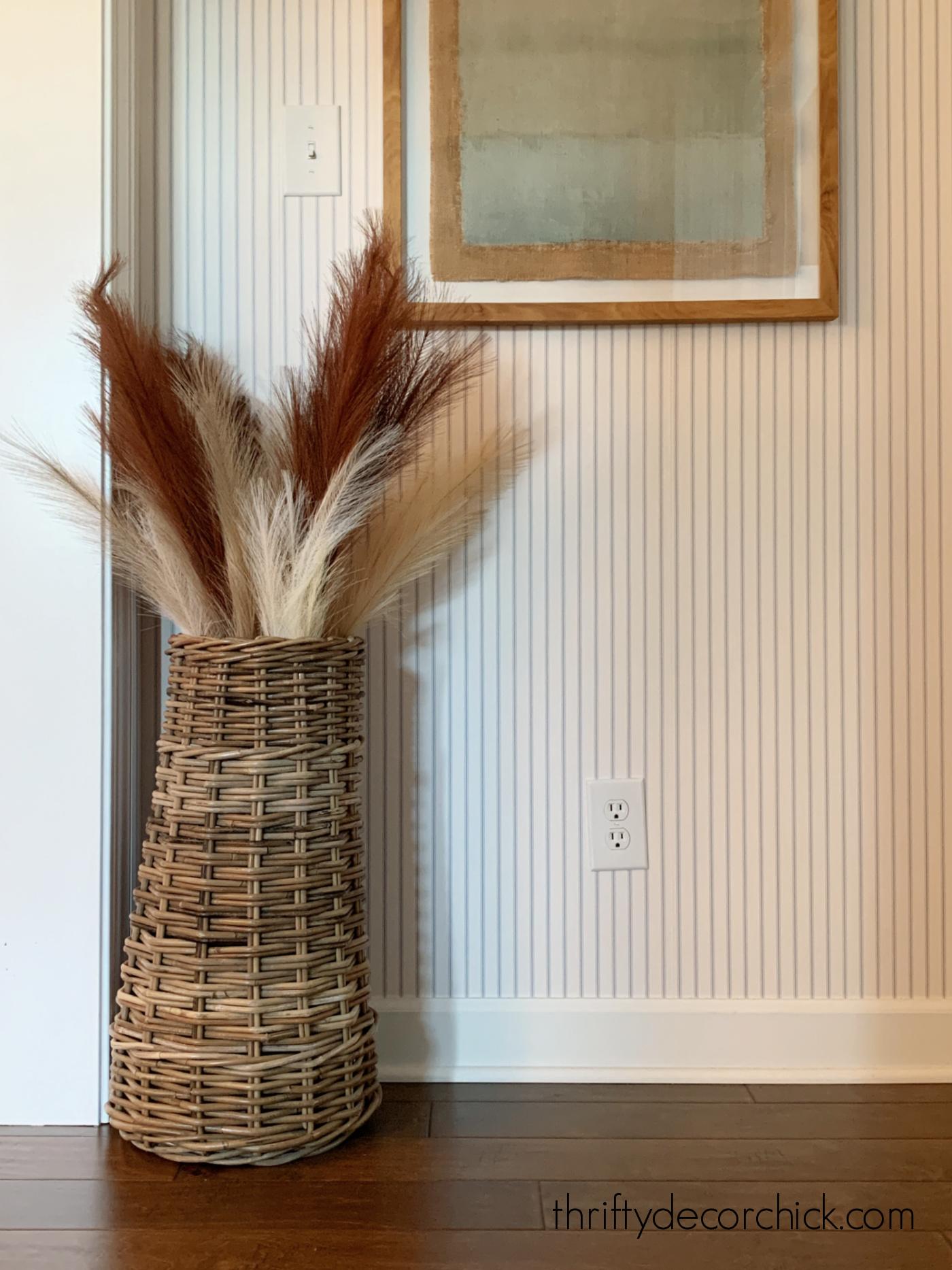 Pampas grass in tall basket