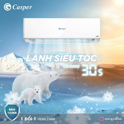 Khả năng làm lạnh và tiết kiệm điện điều hòa Casper 24000btu inverter 1 chiều GC-24TL32