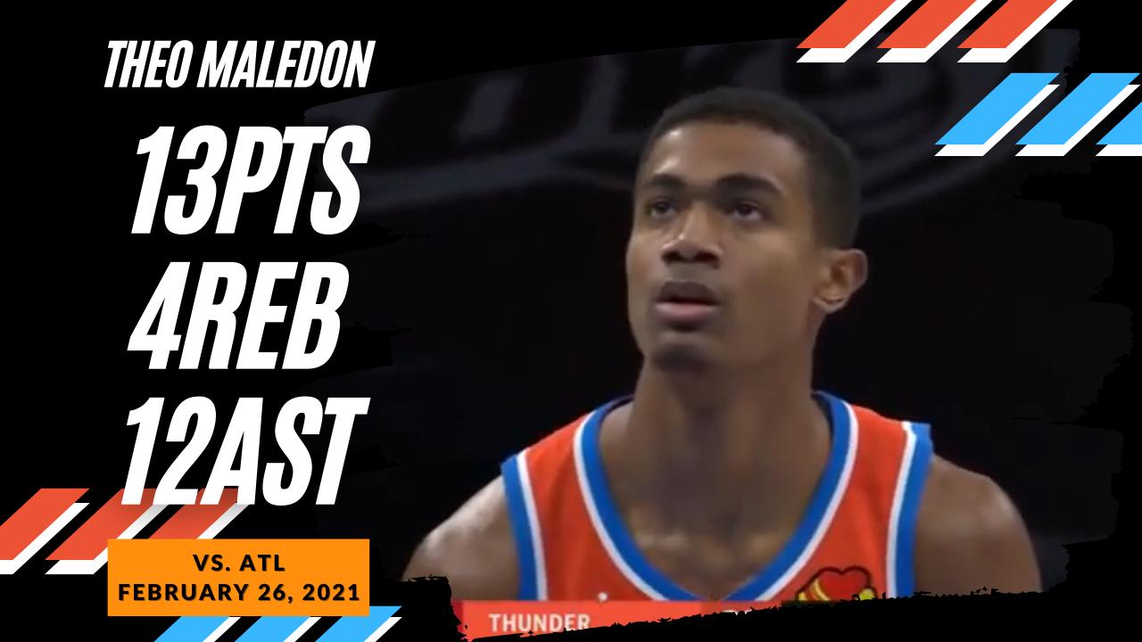 Theo Maledon 13pts 12ast vs ATL | February 26, 2021 | 2020-21 NBA Season