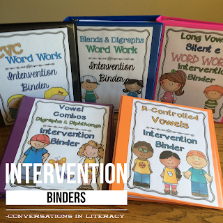 word work intervention binders