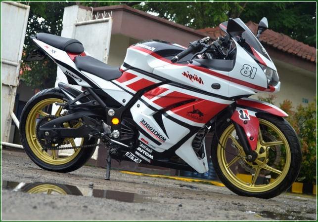 Modifikasi Racing style Warna Putih Hitam Pelek Gold - Contoh Gambar Dan Foto Konsep Desain Modifikasi Kawasaki Ninja 4 Tak 250cc Sporti Ala Moge Keren Banget