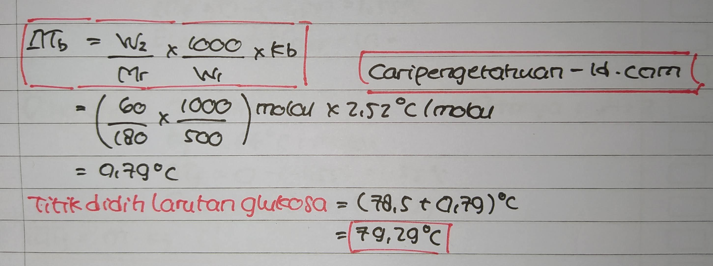 60 gram glukosa (C6H12O6) dalam 500 gram alkohol, jika diketahui titik didih benzena 78.5 dan kb alkohol 1,19°C/molal (Ar C=12, H=1, O=16), maka titik didih larutan tersebut adalah