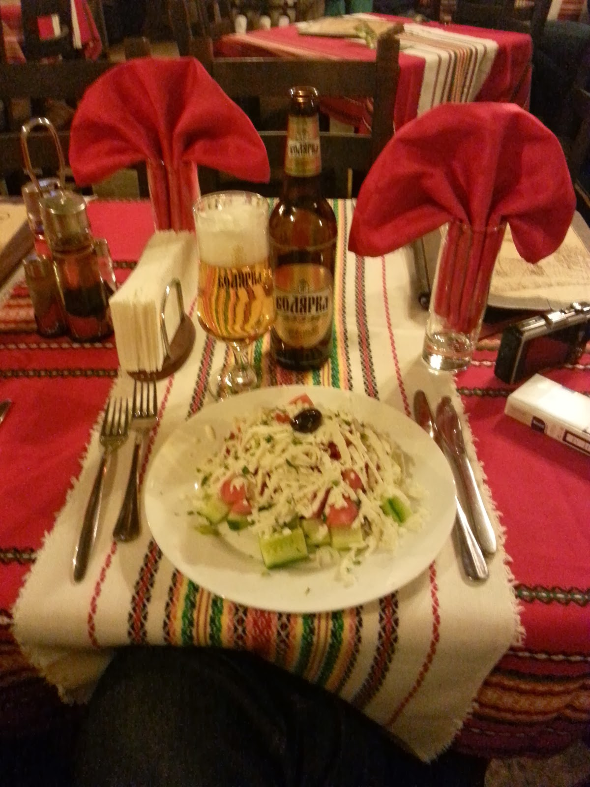 First Shopska salad and a beer