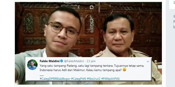 Lewat Faldo Maldini, Prabowo Titip Pesan untuk Milenial