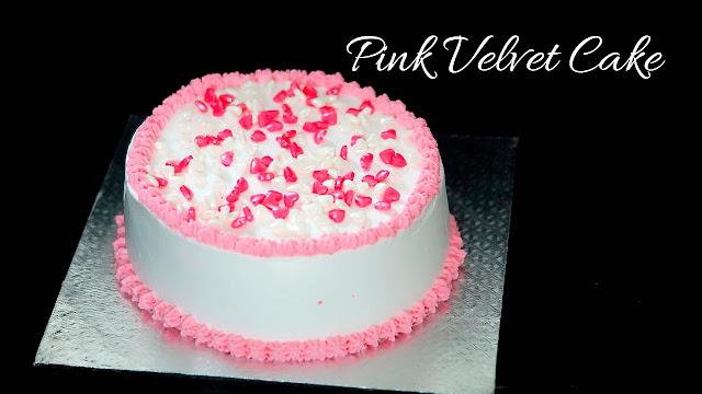 Valentine's day Cake - Pink Velvet Cake - Eggless Pink Velvet Cake