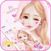 Pink Cartoon Lovely Girl Theme Apk free Download for Android