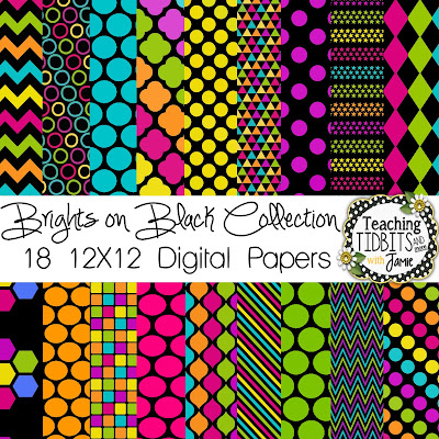 Digital Papers:  Brights on Black Collection by Teaching Tidbits and More with Jamie